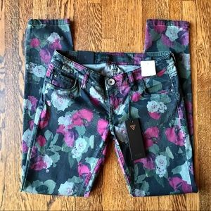 Guess Skinny Ultra Low Floral Jeans Black